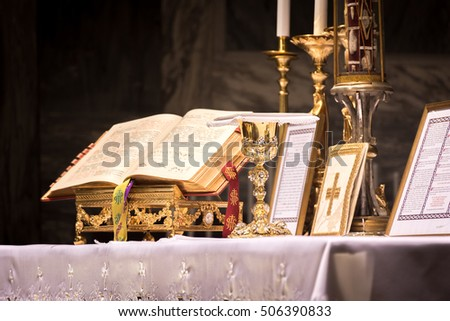 Chalice Ciborium On Altar During Traditional Stock Photo ...