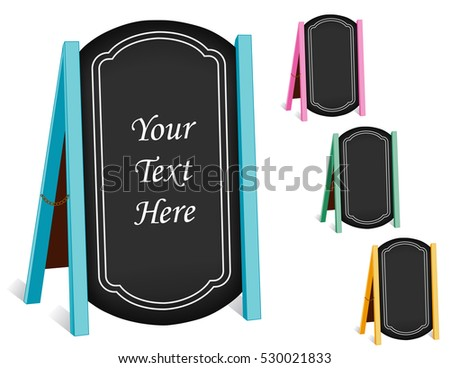 Chalk board sidewalk signs, four folding easels with brass chain, pastel frames for business, blackboard background with copy space.