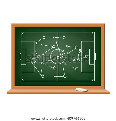 Chalk board. Tactics and scheme football game. Isolated on white background.