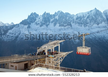 Chamonix, France - DEC 31, 2016: A cable car station at height of 2000 m, Brevent-Flegere ski region