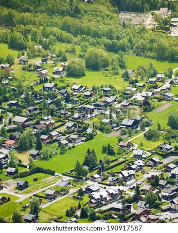 Chamonix, France view in green from top