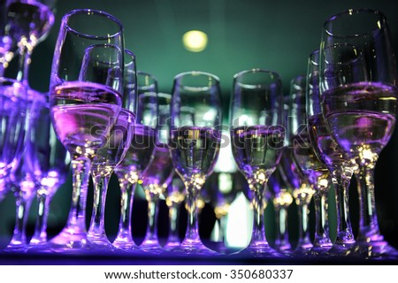 Champagne flutes prepared for a wedding reception