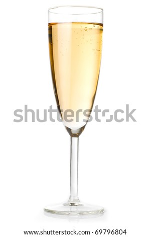 champagne glass isolated on white