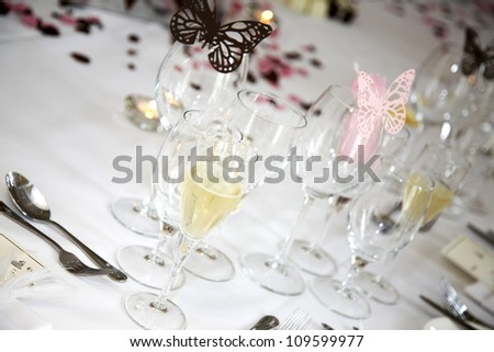 Champagne in a glass to celebrate the wedding