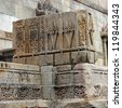 CHAMPANER PAVAGADH, GUJARAT/ INDIA-OCTOBER 3: Jami Masjid on October 3, 2012 in Champaner Pavagadh. A UNESCO World Heritage site built in 16th century A.D.  Wonderful patterns carved in sandstone. - stock photo