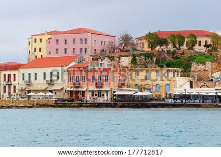 CHANIA, GREECE - FEBRUARY 2 2014 : Panoramic views of the waterfront city of Chania. Crete. Expected records tourist arrivals in Greece for 2014