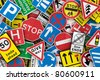 Chaotic collection of traffic signs from the United Kingdom - stock photo