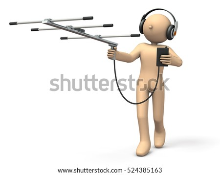 Character having an antenna is exploring the goal.  3D illustration