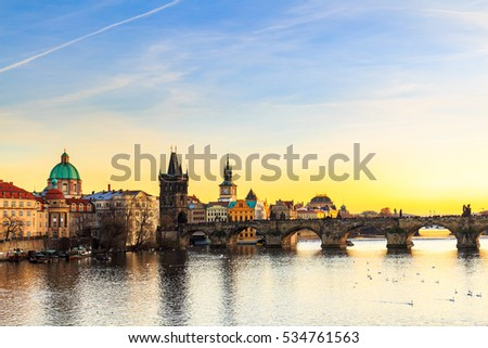 Charles Bridge (Karluv Most) in Prague at sunset, Czech Republic