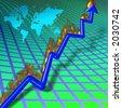 Chart with burning upward arrow - stock vector