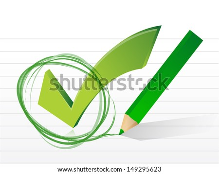 check mark on a notepad paper. illustration design over white