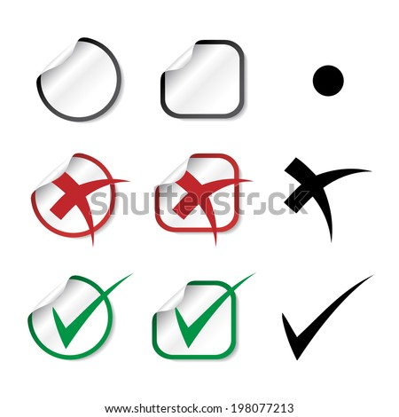 check mark stickers, yes and no symbol