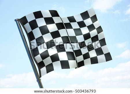 Checked sport flag on sky background (done in 3d rendering)