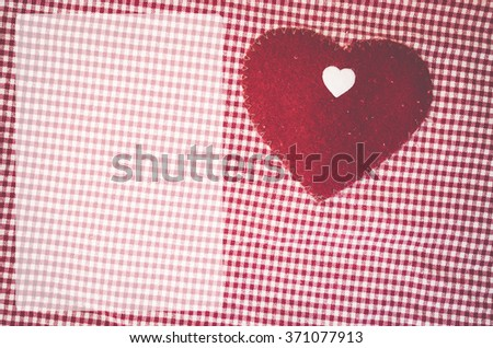 checkered cotton fabric and heart felt decoration - dodged template