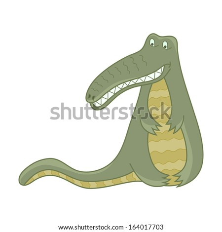 Cheerful crocodile. Funny alligator cartoon isolated on a white background.