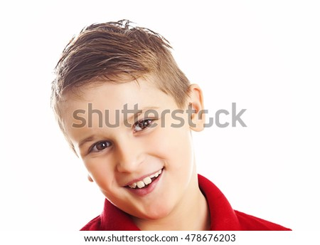 Cheerful laughing boy isolated on white background