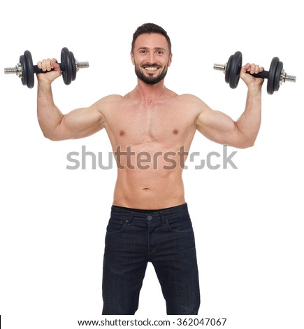 Cheerful weights lifter