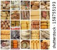 cheese and  meat  specialties  on italian farmers market - collage  - stock photo