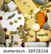 cheese still life with fruit - stock photo