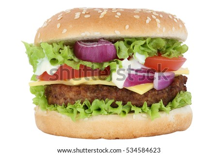 Cheeseburger hamburger burger tomatoes lettuce cheese isolated on a white background