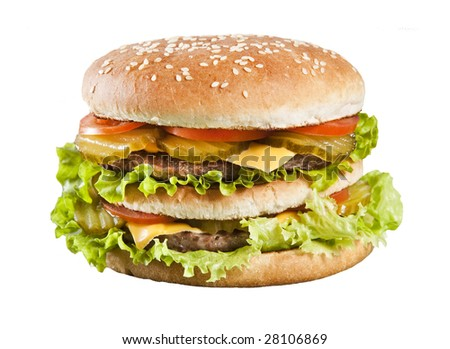 Cheeseburger with lettuce tomato and ketchup