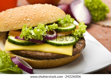 cheeseburger with salad, tomato, and cucumber slices, red onion rings, salad, close-up