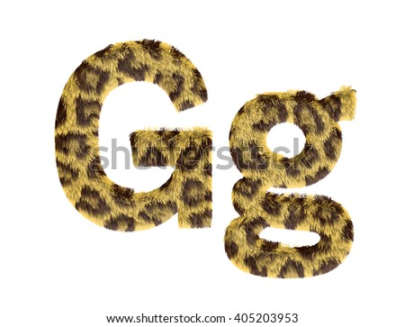 Cheetah fur font alphabet G on isolated white background.