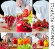 Chef preparing vegetables, collage - stock photo