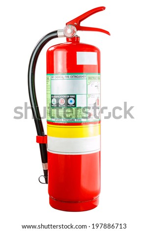 Chemical fire extinguisher isolated on white background, with clipping path