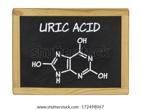 chemical formula of uric acid on a blackboard