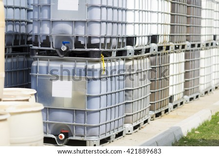 Chemical Plant, Plastic Storage Drums, Big Barrels