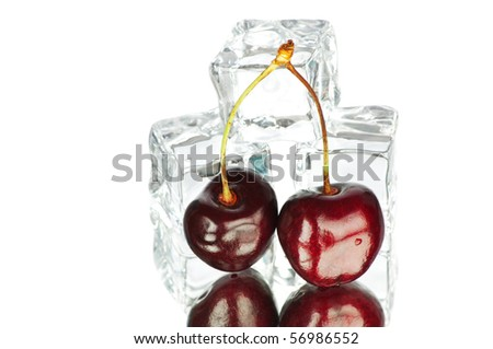 Cherry and ice cubes isolated on white background