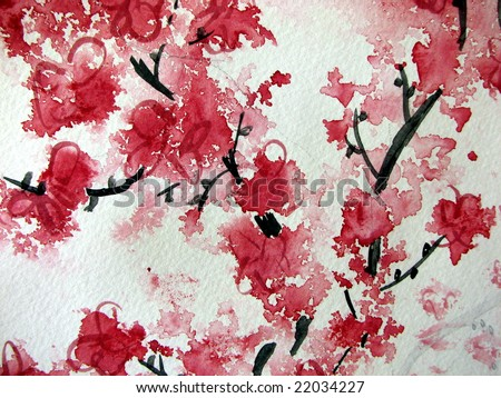 Red Japanese Cherry Blossom Canvas Print / Canvas Art by Katie Slaby