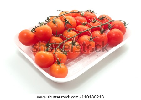 Cherry tomatoes on vine with water drops. Isolated