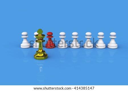 Chess figure, business concept strategy, leadership, team and success 3d rendering