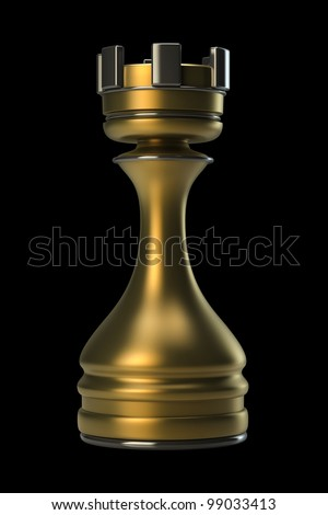 Chess golden Castle Stone isolated on black background. High resolution. 3D image