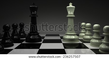 chess. kings with their armies face to face. 3D render