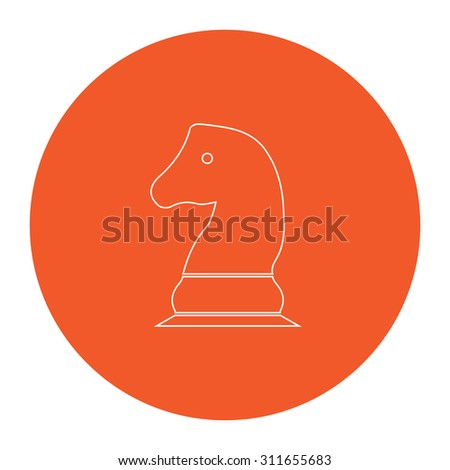 Chess knight. Flat white symbol in the orange circle. Outline illustration icon