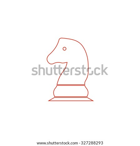Chess knight. Red outline illustration pictogram on white background. Flat simple icon