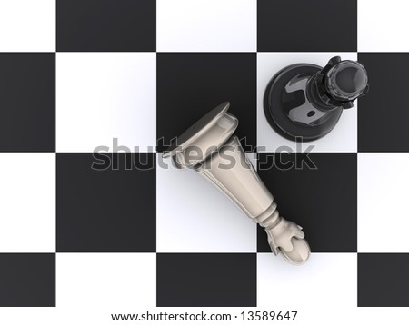 Chessboard with pieces in start position - rendered in 3d