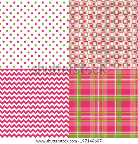 Chevron Dots Plaid Geometric Pattern