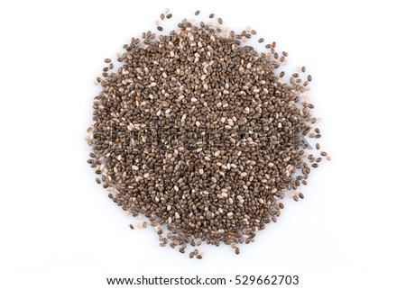 Chia seeds close up on a white background