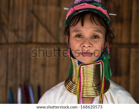 Chiang Mai, Thailand - November 23: Karen Long Neck woman in hill tribe village near Chiang Mai, Thailand.