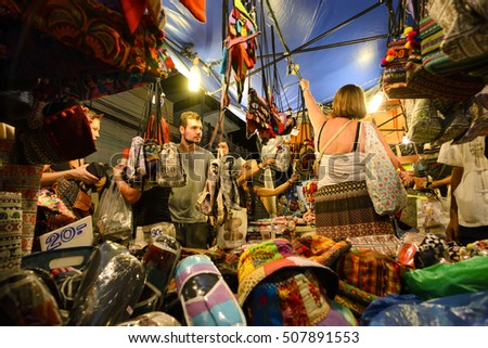 CHIANG MAI THAILAND - OCTOBER 30, 2016 : Sunday market walking street, Unidentified tourists walk shopping for souvenirs local craft a beauty & buying local food is delicious market held every sunday.