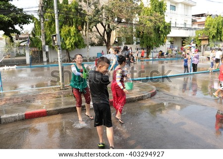Chiang Rai  Thailand- APRIL 12: Songkran Festival is celebrated in Thailand as the traditional New Year's Day from 13 to 15 April by throwing water at each other, on 13-15 April 2015 in  Thailand