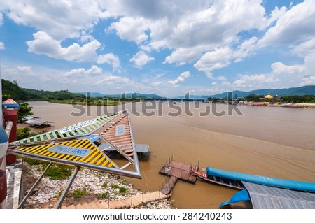 CHIANG RAI, THAILAND - JUNE 1,2015 - Golden triangle in Thailand .The Golden Triangle designates the confluence of the Ruak River and the Mekong River