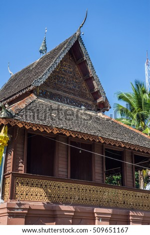CHIANGMAI,THAILAND-August 1 2010: Ordination hall in Thai Buddhism temple Wat Srisupan , Chiangmai, Thailand