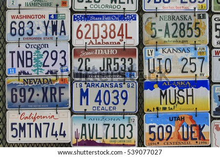 CHIANGMAI, THAILAND - Dec 19, 2016 : Back drop retro style antiques and License plate on chiangmai,Thailand.