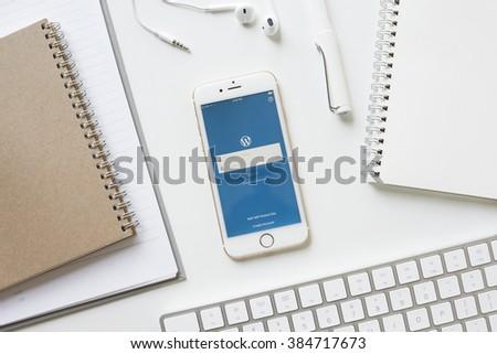 apple thailand office. chiangmai thailand feb 15 2016 apple iphone 6s showing service wordpress screen thailand office