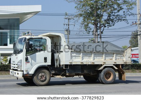 CHIANGMAI, THAILAND -FEBRUARY 2 2016:   Dump Truck of Sor Service Transport. Photo at road no.121 about 8 km from downtown Chiangmai, thailand.
